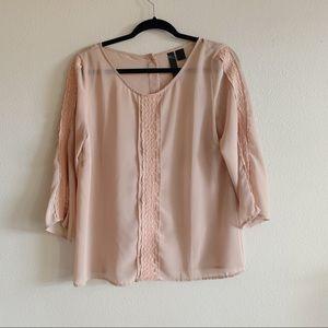 Semi sheer Cream blouse medium